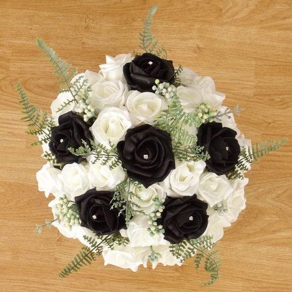 black fern rose brides bouquet
