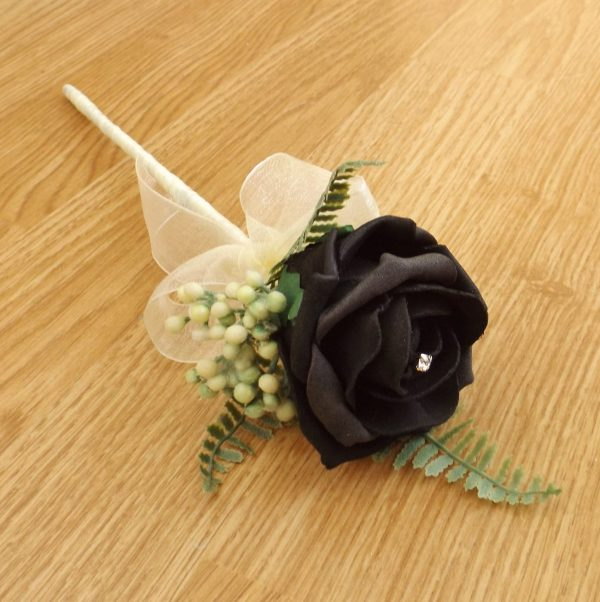 black foam rose flower girl wand