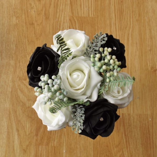 black artificial rose childs bouquet