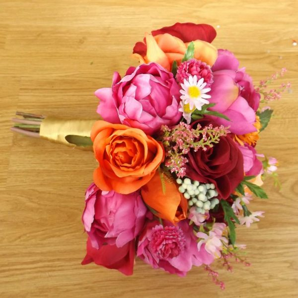 pink and orange wildflower brides bouquet