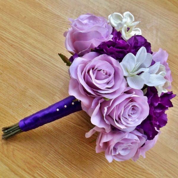 purple hydrangea brides bouquet