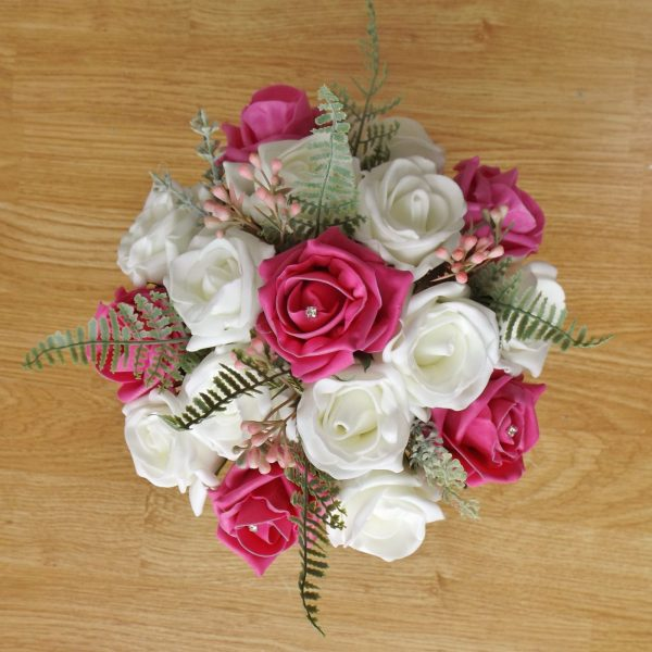 bright pink rose fern foliage bridesmaid bouquet