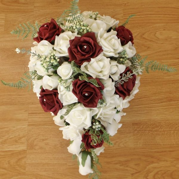 burgundy fern rose brides shower