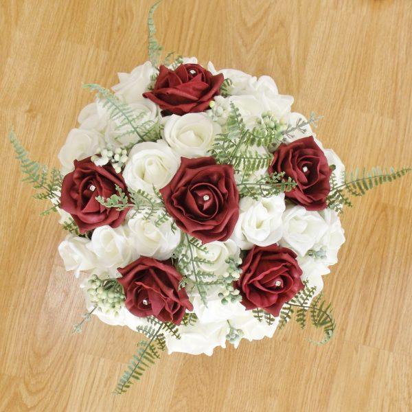 burgundy fern rose brides bouquet