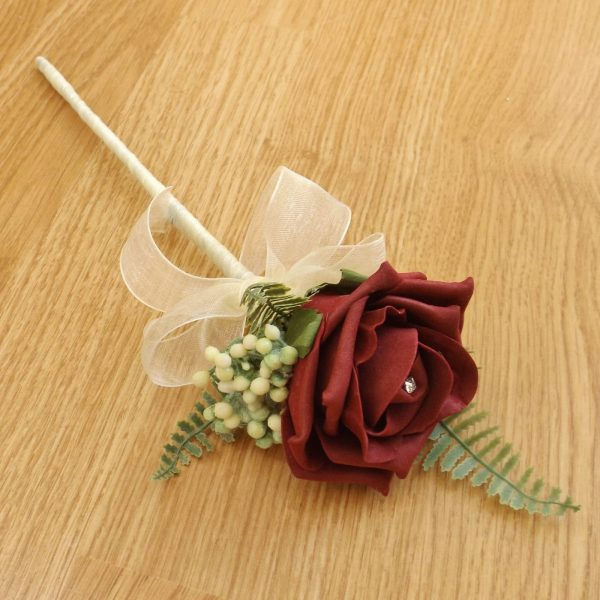 burgundy flower girl wand