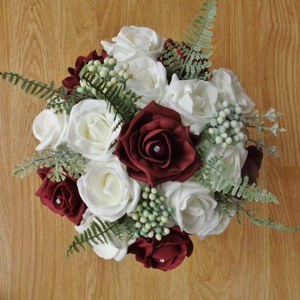 burgundy rose artificial bridesmaid bouquet