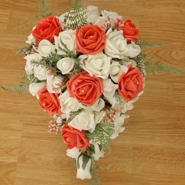 coral fern rose brides shower