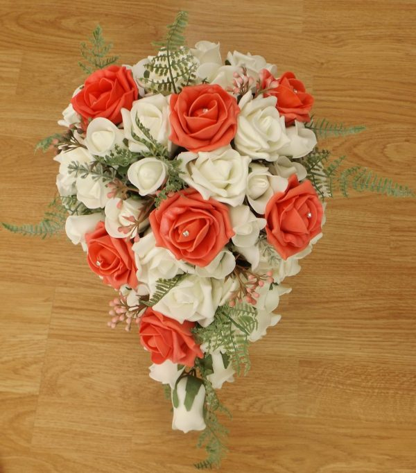 coral fern rose brides shower