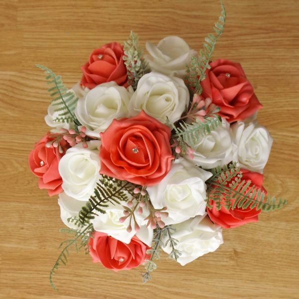 coral rose fern foliage bridesmaid bouquet