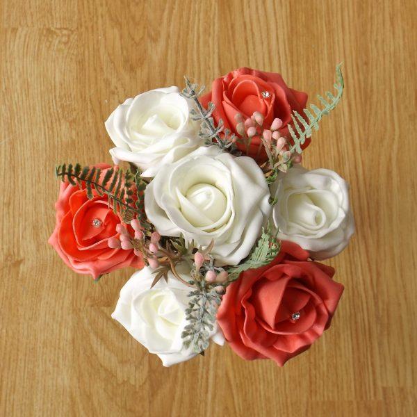 coral rose child bouquet