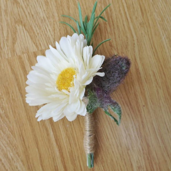 gerbera and thistle buttonhole