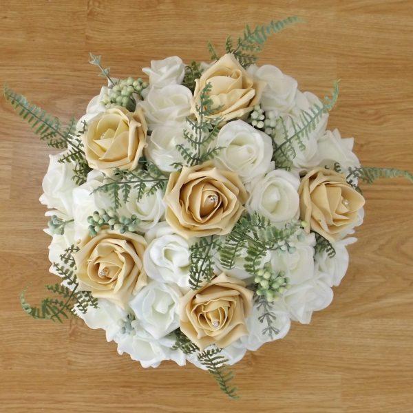 gold fern rose brides bouquet
