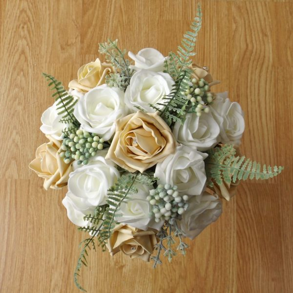gold rose fern foliage bridesmaid bouquet