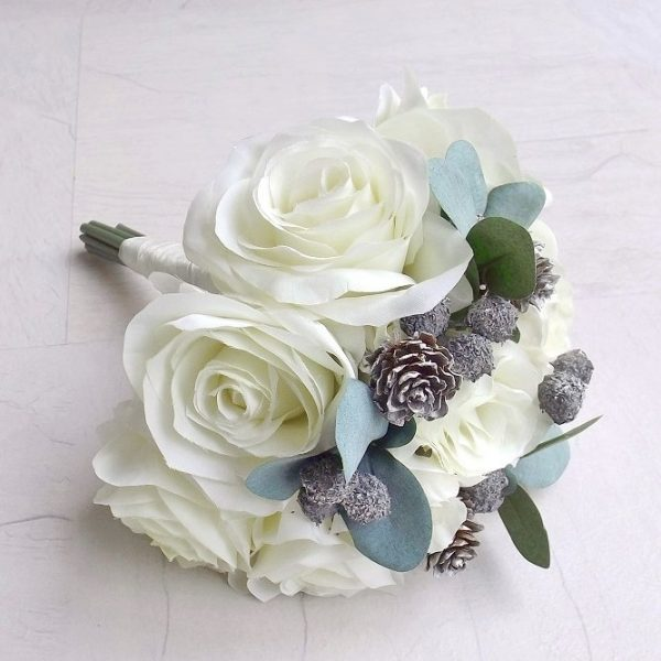 ivory winter berry bridesmaid bouquet
