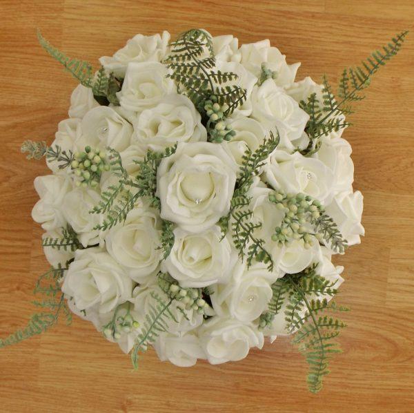 ivory fern rose brides bouquet