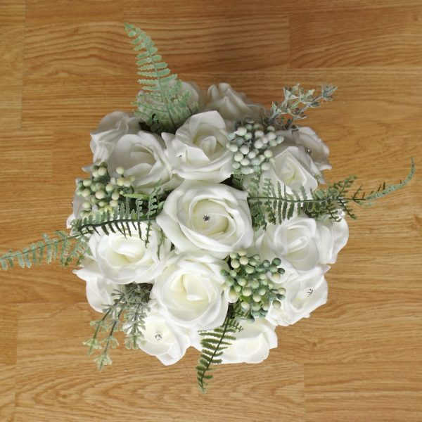 ivory rose fern foliage bridesmaid bouquet