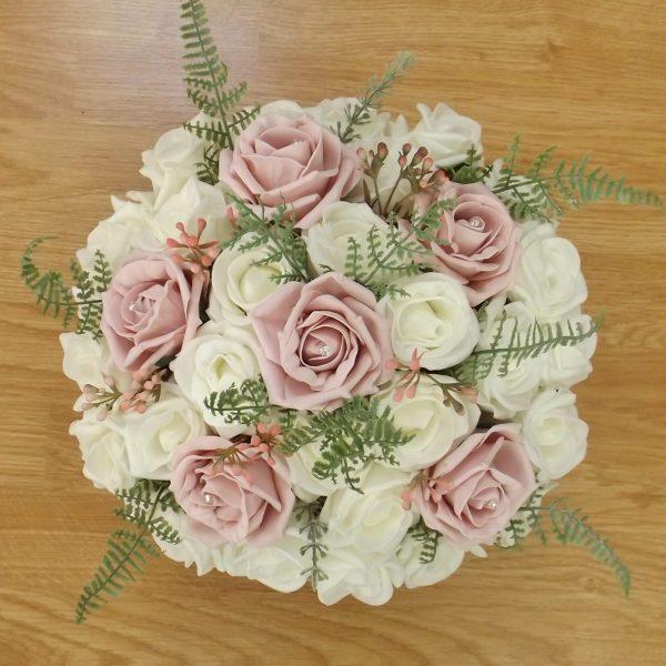 light pink fern rose brides bouquet