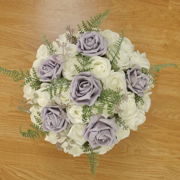 lilac fern rose brides bouquet