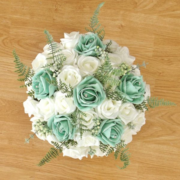 mint green fern rose brides bouquet