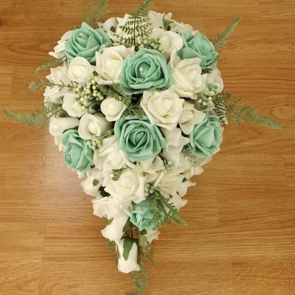 mint green fern rose brides shower