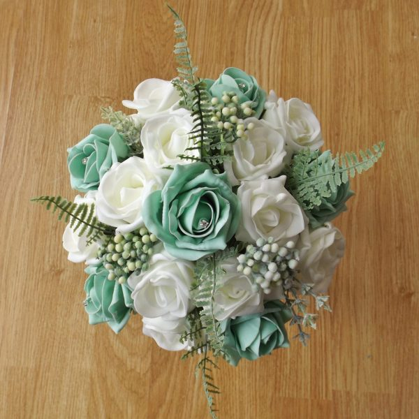 mint green rose fern foliage bridesmaid bouquet