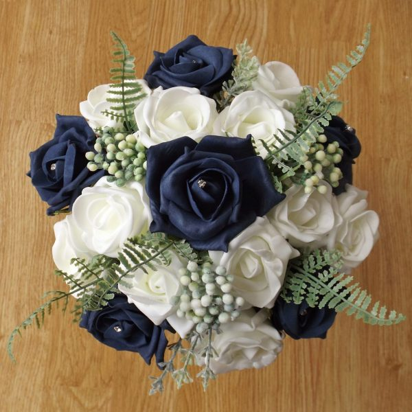navy rose fern foliage bridesmaid bouquet