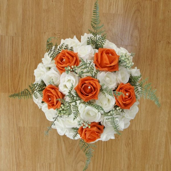 orange artificial brides bouquet