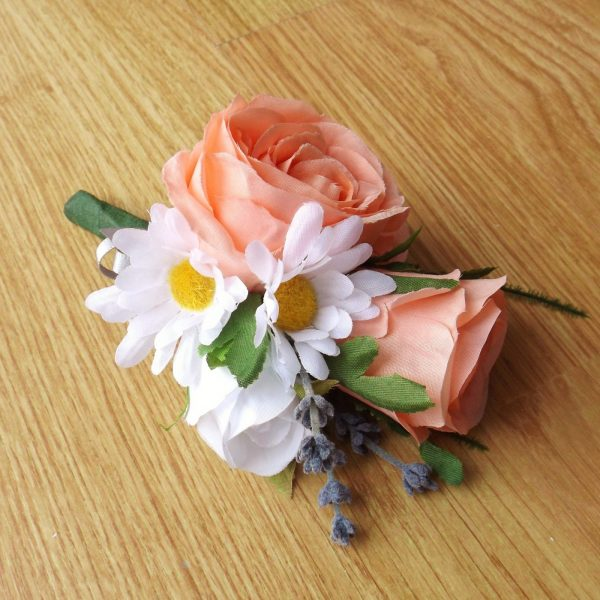 Peach silk rose corsage with daisies and lavender