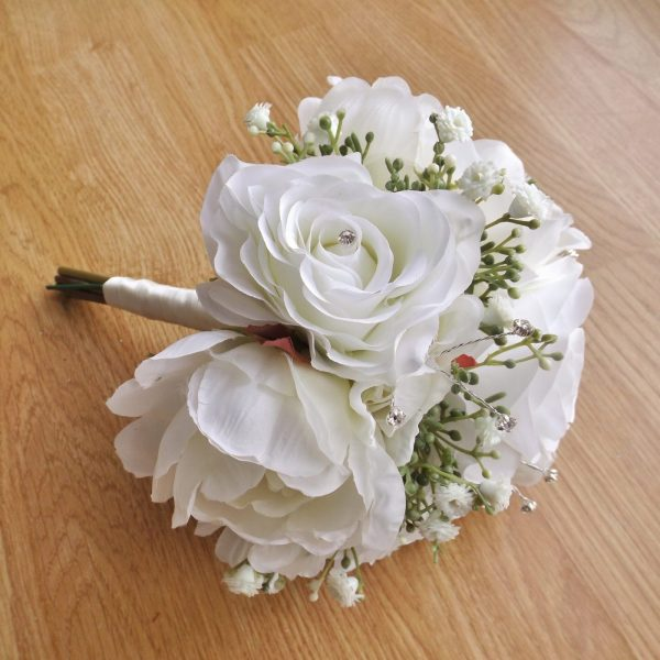 ivory silk rose & peony bridesmaid bouquet