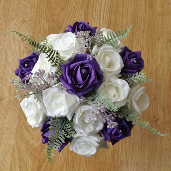 purple rose fern foliage bridesmaid bouquet