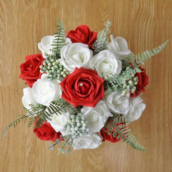 red rose fern foliage bridesmaid bouquet
