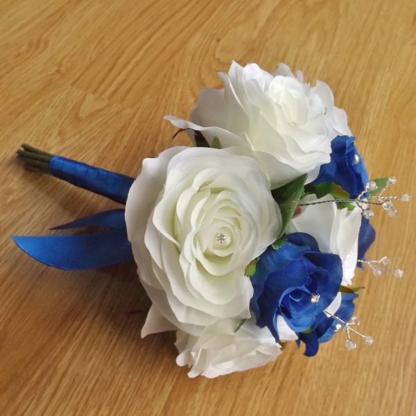 royal blue & ivory silk rose bridesmaid bouquet