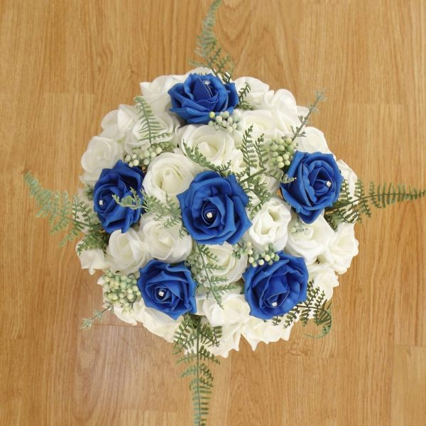 royal blue fern rose brides bouquet