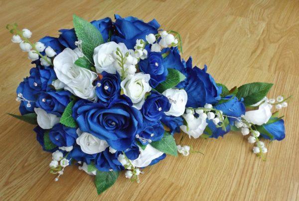 royal blue silk rose brides shower