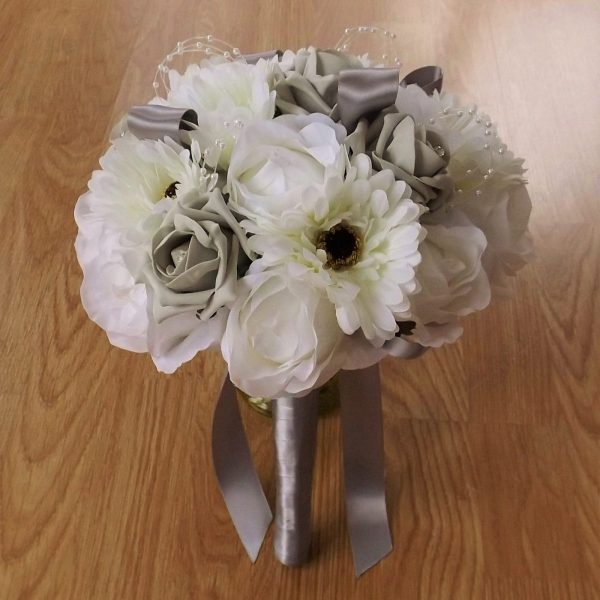 white silk gerbera & foam rose brides bouquet
