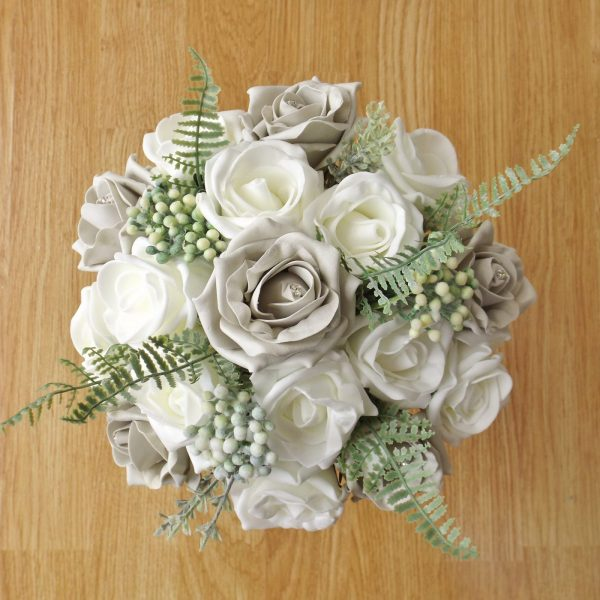 silver rose fern foliage bridesmaid bouquet