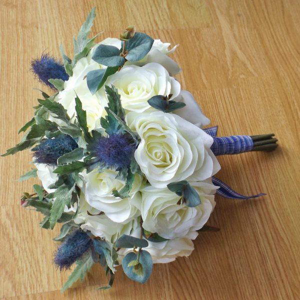 ivory thistle handtied brides bouquet