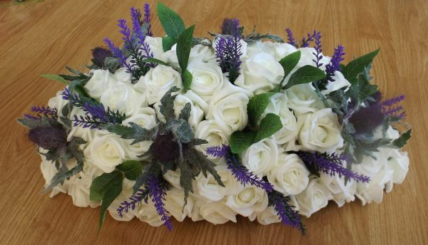 artificial thistle top table arrangement with heather and foliage