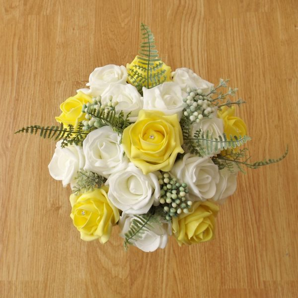 yellow rose fern foliage bridesmaid bouquet