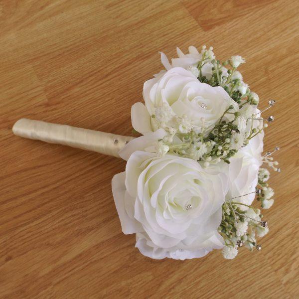 ivory silk rose & gypsophila bridesmaid bouquet