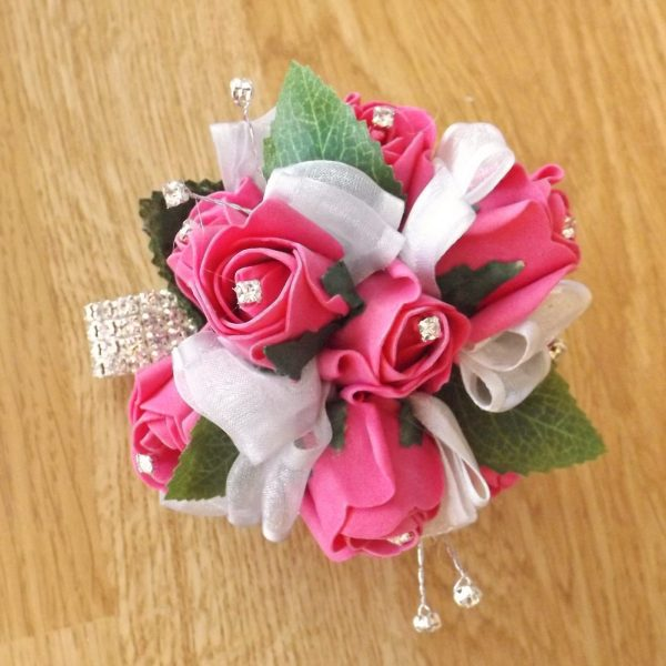 bright pink diamante rose wrist corsage