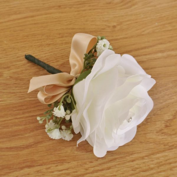 ivory silk rose buttonhole with champagne ribbon