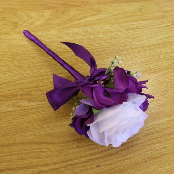 white rose & purple hydrangea flowergirl wand