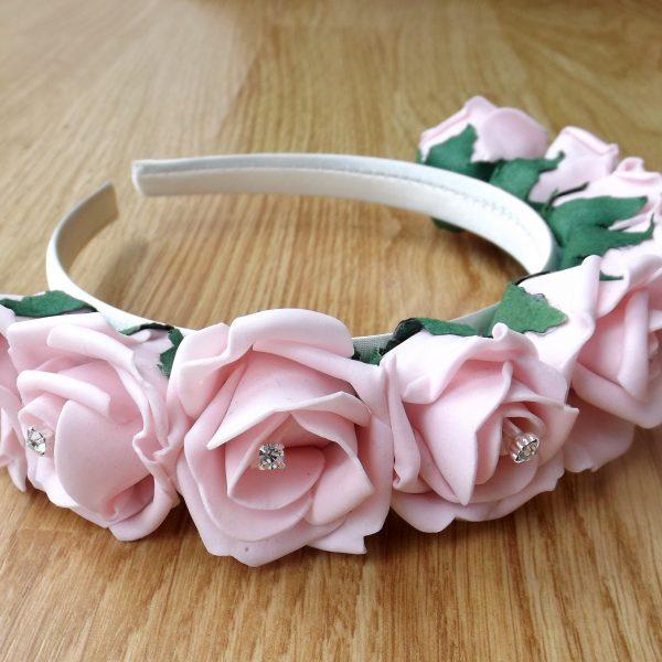 light pink rose hairband