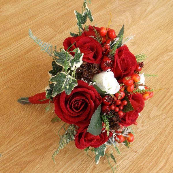 Red velvet christmas brides bouquet