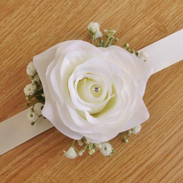 Ivory Silk Rose Gypsophila Wrist Corsage