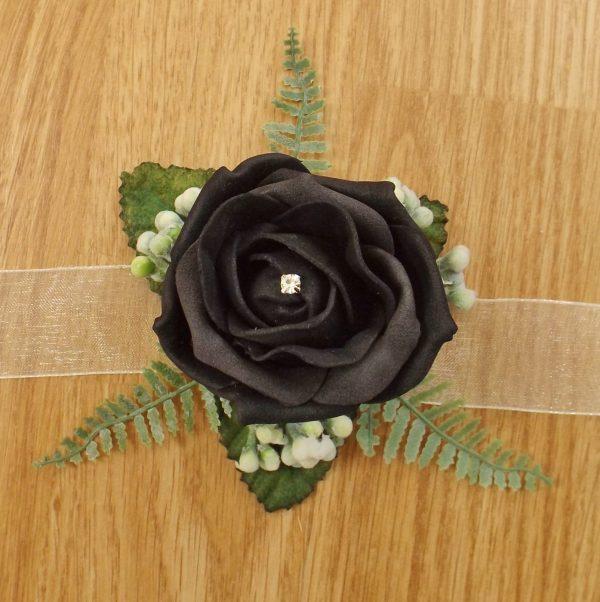 black rose wrist corsage