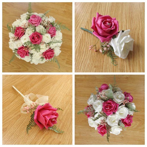 bright pink artificial flower collection