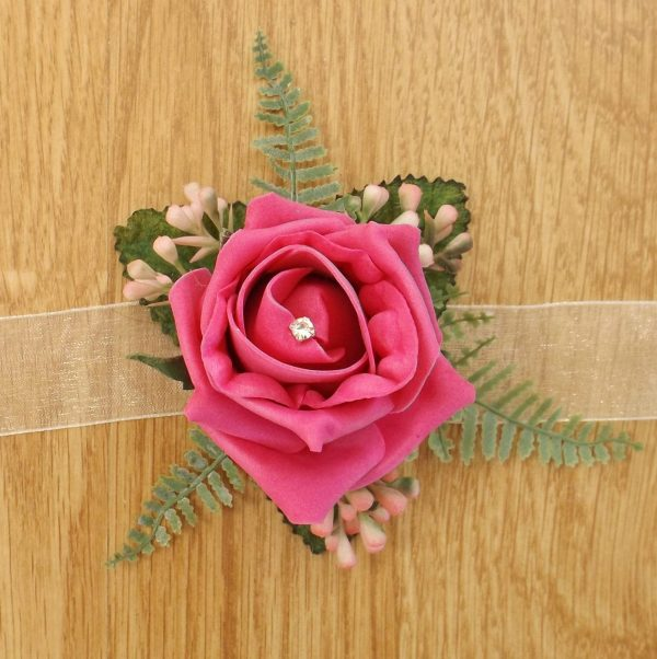 bright pink rose wrist corsage