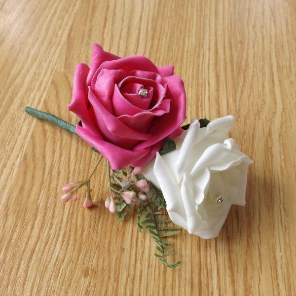 bright pink fern corsage